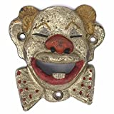 Clown Wall Mounted Bottle Opener, Made Of Cast Iron With A Painted Vintage Antique Finish And Distressed Design For Sale