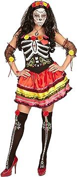 NET TOYS Disfraz Día de los Muertos - XL (ES 48/50) | Vestido La ...