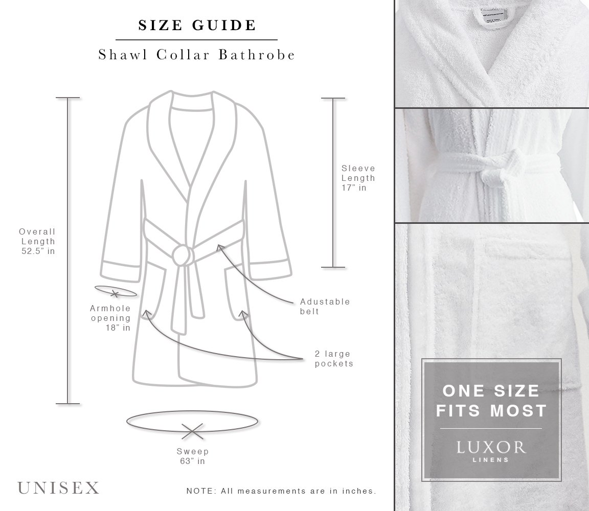 567b519d3e Amazon.com  Luxor Linens - Terry Cloth Bathrobes - 100% Egyptian Cotton -  Luxurious