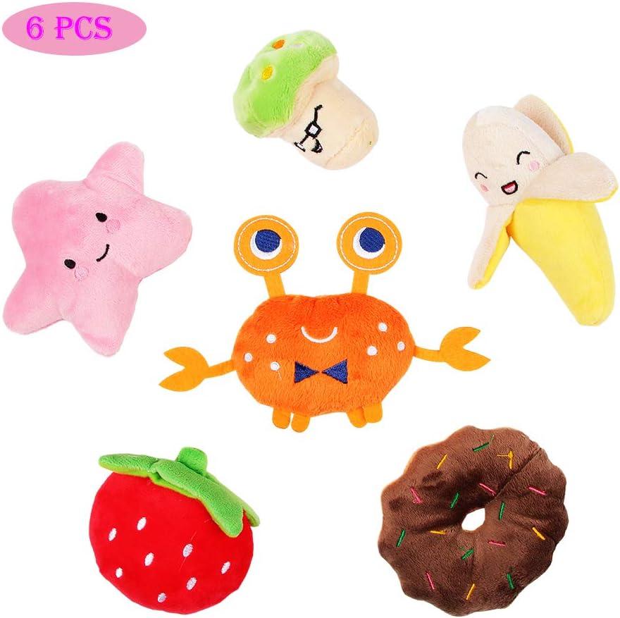 NOZOMI 6 PCS Perrito Juguetes Chirriantes, Juguete Chirriante para Perros Frutas y Verduras Sonido de Felpa Masticar Dentición Mascotas Regalo de Juguete para Perros y Gatos Pequeños Medianos