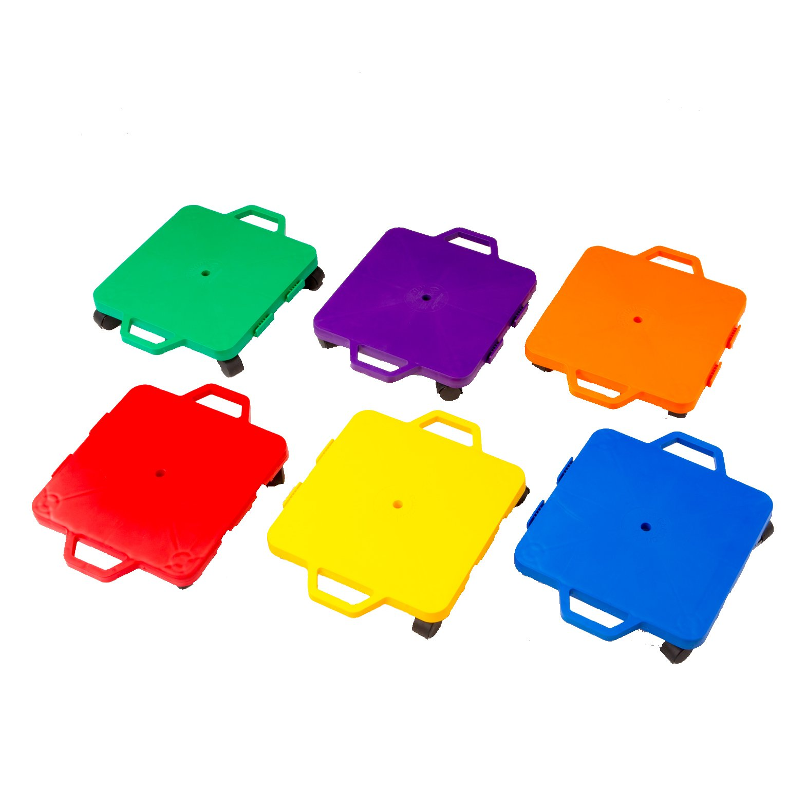Cosom Scooter Board Set, 16 Inch Children's Sit & Scoot Board With 2 Inch Non-Marring Nylon Casters & Safety Guards for Physical Education Class, Sliding Boards with Safety Handles, 6 Colors by BSN Sports