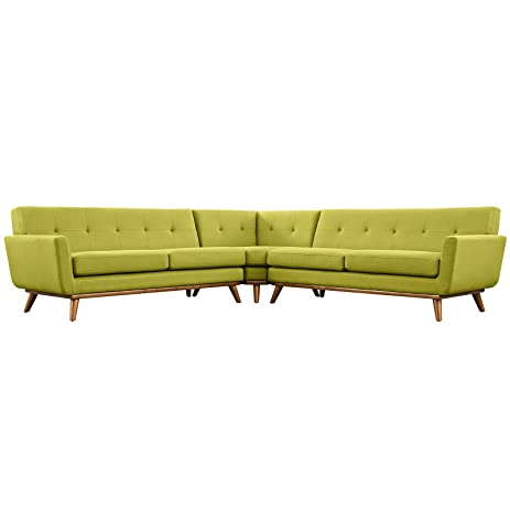 Modern Contemporary L-Shaped Sectional Sofa Green Fabric  sc 1 st  Amazon.com : sectional sofa amazon - Sectionals, Sofas & Couches