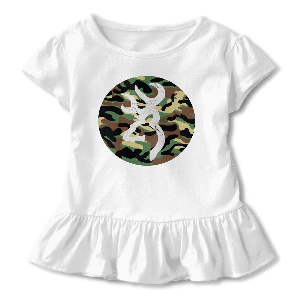 Clarissa Bertha Camouflage Deer Toddler Baby Girls Short Sleeve Ruffle T-Shirt