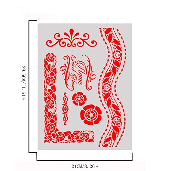 learol-CA DIY Craft Layering Stencils For Walls Painting Scrapbooking Stamping Stamp Album Decorative Embossing Paper Card Template