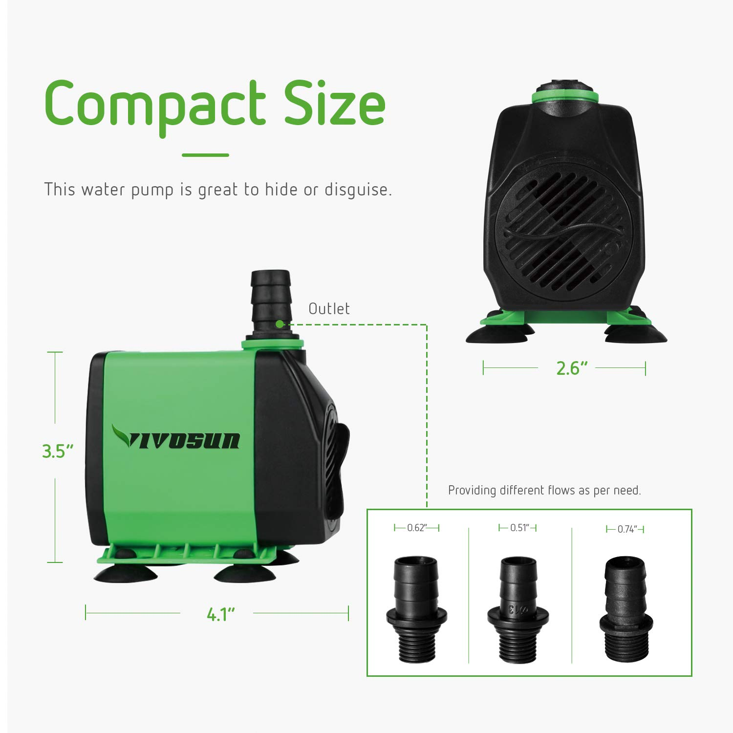VIVOSUN 800GPH Submersible Pump(3000L/H, 24W), Ultra Quiet Water Pump with 10ft High Lift, Fountain Pump with 5ft Power Cord, 3 Nozzles for Fish Tank, Pond, Aquarium, Statuary, Hydroponics by VIVOSUN (Image #3)