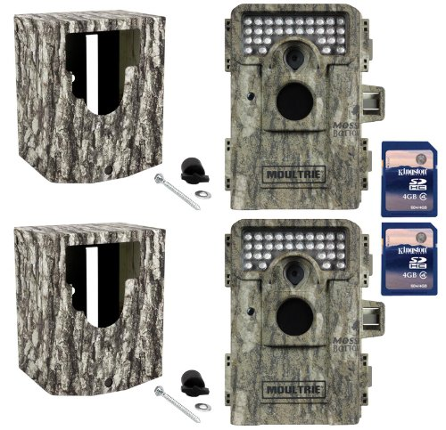 (2) MOULTRIE Game Spy M-880 Low Glow Trail Cameras  Security Boxes  SD Cards