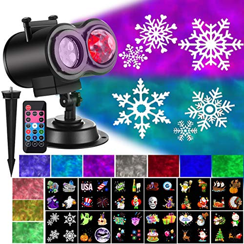 Ocean Wave Christmas Projector Lights 2-in-1 Moving Patterns with Ocean Wave LED Landscape Lights Waterproof Outdoor Indoor Xmas Theme Party Yard Garden Decorations, 12 Slides 10 Colors (Black)]()