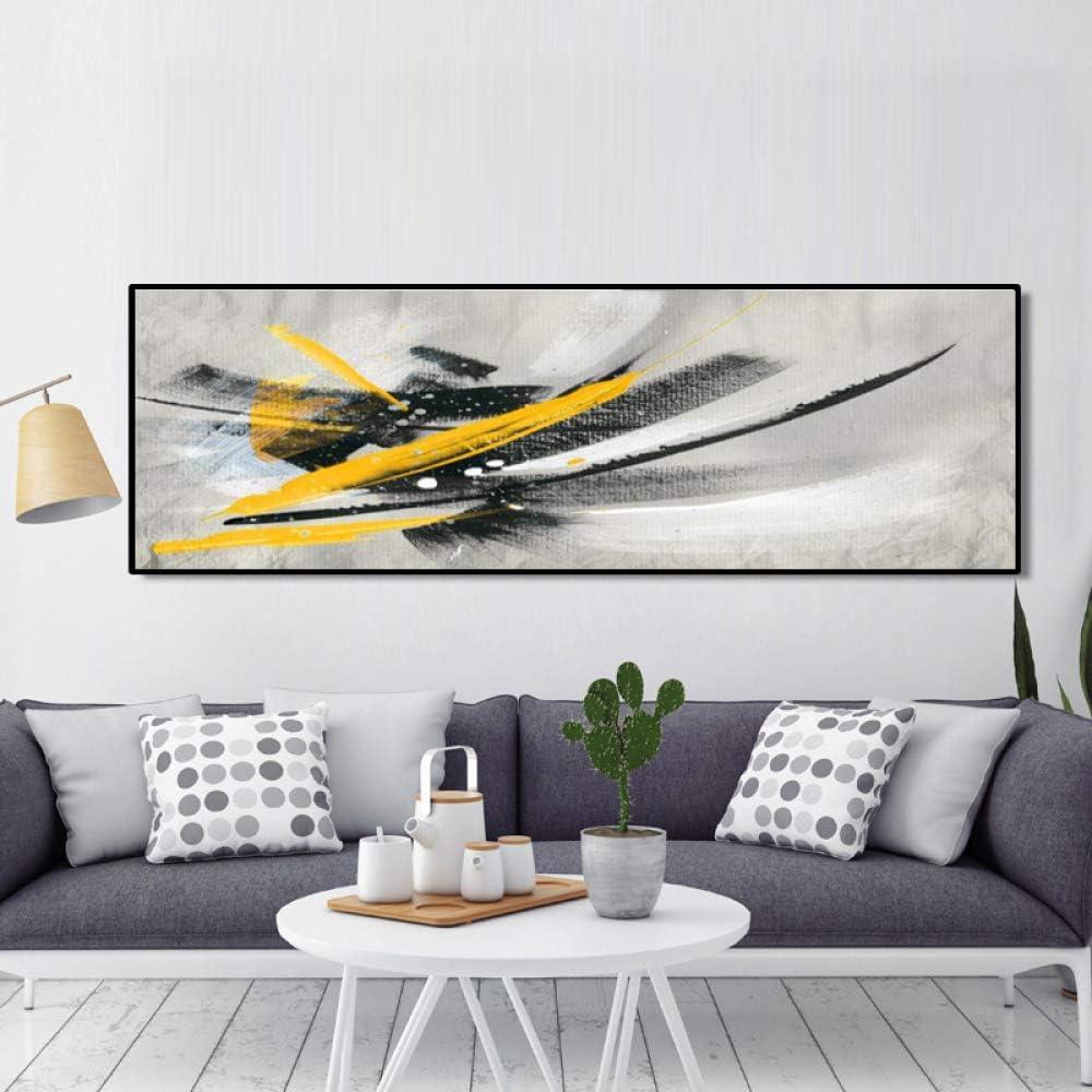 Pintura al óleo abstracta minimalista en negro y amarillo sobre ...