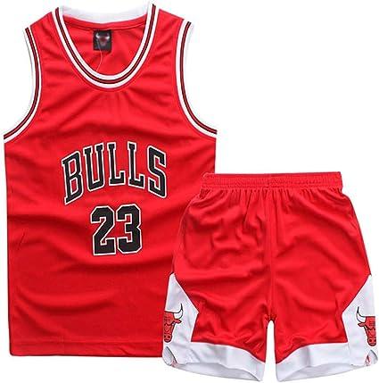 Image of Niño NBA Michael Jordan # 23 Chicago Bulls Retro Pantalones Cortos de Baloncesto Camisetas de Verano Uniformes y Tops de Baloncesto