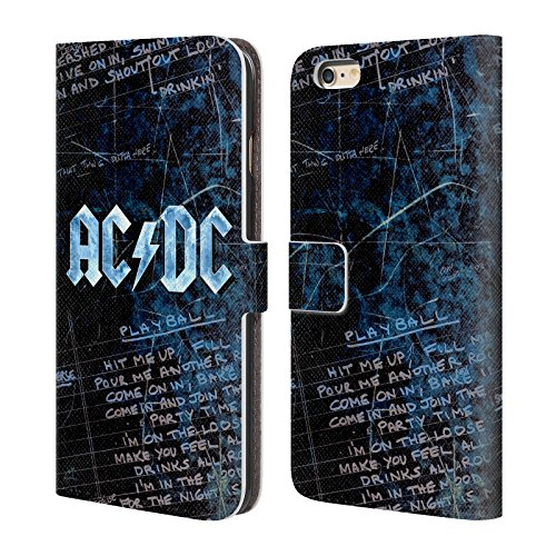Officiel AC/DC ACDC Paroles Logo Étui Coque De Livre En Cuir Pour Apple iPhone 6 Plus / 6s Plus