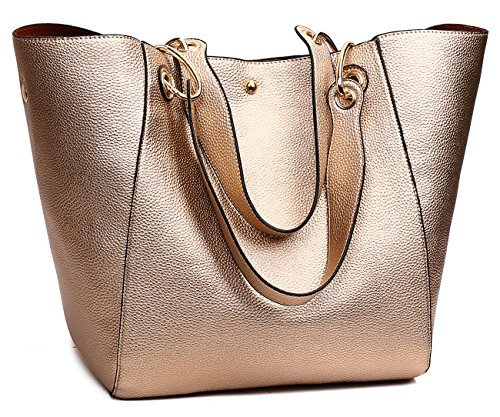 Metallic Satchel Handbag - TIBES Faux Leather Handbag for College Girls Rose Gold