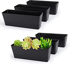 12x3.8 Inch Herb Planters, Greaner 6 Pack Black Rectangle Window Boxes with Tray, Indoor Succulent Cactus Mint Plastic Pot for Windowsill , Balcony, Office, Outdoor Garden