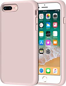 "iPhone 8 Plus Case, iPhone 7 Plus Case, Anuck Soft Silicone Gel Rubber Bumper Case Microfiber Lining Hard Shell Shockproof Full-Body Protective Case Cover for iPhone 7 Plus /8 Plus 5.5"" - Pink Sand"