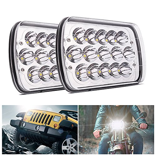 MICTUNING 2Pcs 45w 7x6 Led Headlights Rectangular 5x7 Hi/Lo Led Sealed Beam H6054 6053 6052 5054 Headlights Replacement for Jeep Wrangler YJ XJ MJ Chevy GMC Safari Truck (Sealed Replacement Beam Headlight)