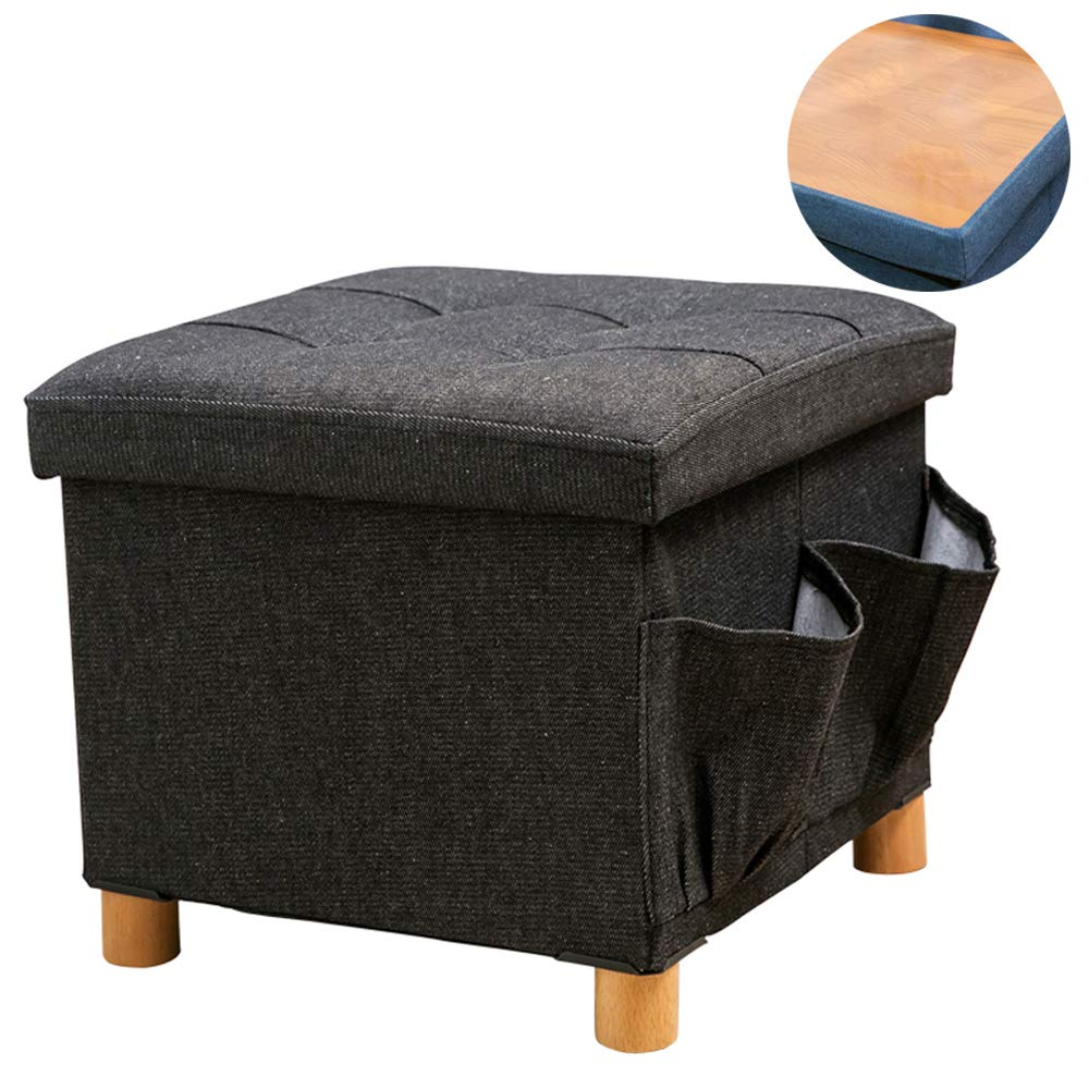 WALTSOM Folding Storage Ottoman, Cube Footrest Seat Stool Coffee Table with Woode Feet, Side Pockets, Double Sides Lid, Soft Padding for Home and Office, 15''X15''x15'' (Black) by WALTSOM