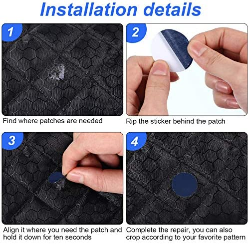 Round and Oval Shape 80 Pieces Down Jacket Patches Nylon Repair Tape Self-Adhesive Repair Patch with 8 Sizes for Jacket Tent Outerwear Repair Dark Blue