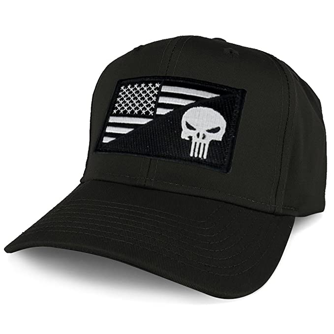 Armycrew XXL Oversize Black White Punisher USA Flag Patch Solid Baseball Cap  - Black 0f2947634fb