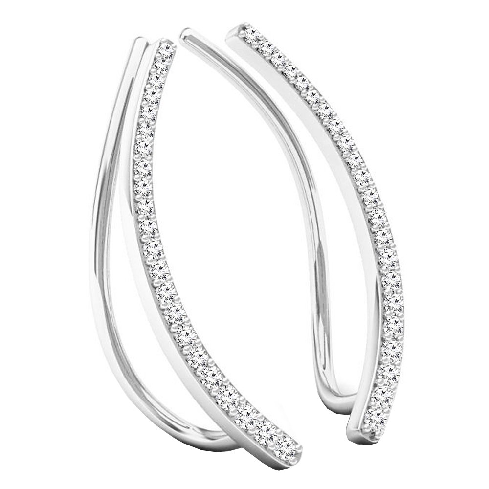 0.22 Carat (Ctw) Sterling Silver Round Cut White Diamond Ladies Crawler Climber Earrings 1/4 CT