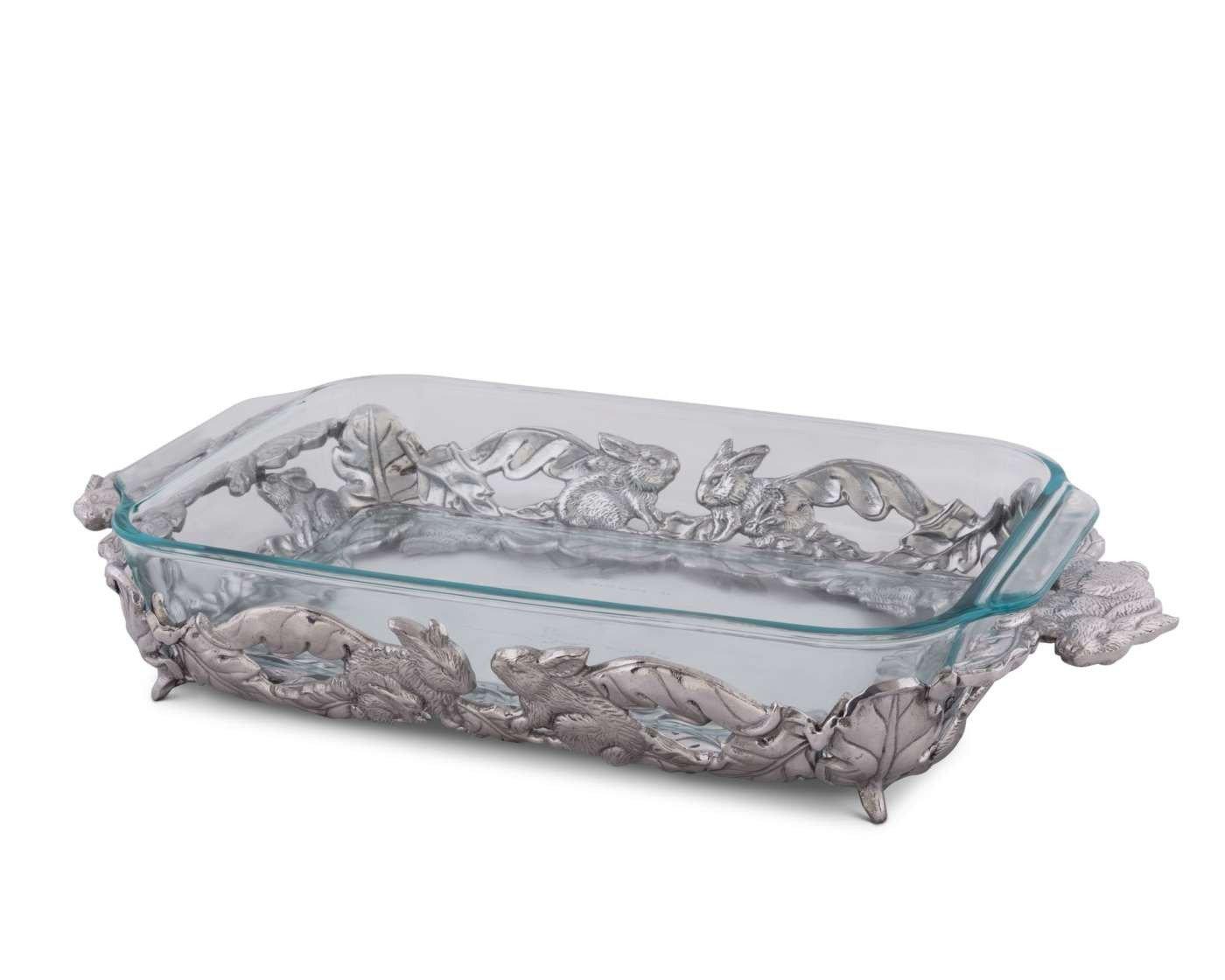 Arthur Court Designs Aluminum Bunny Pattern Pyrex Casserole Dish Holder 18'' 3qt