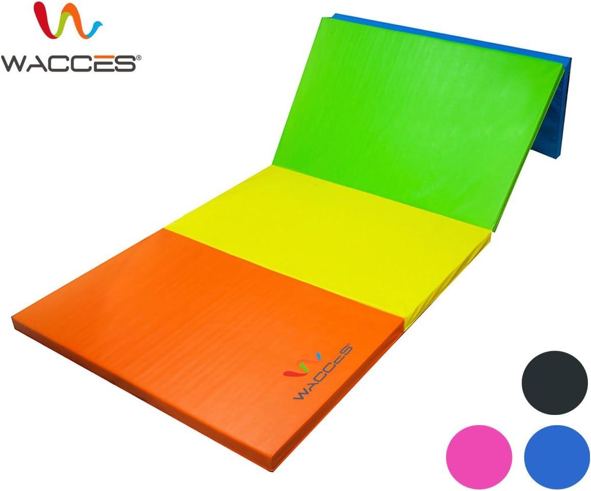 Wacces Pu Leather Gymnastics Gym Fitness Exercise Tumbling Martial Arts Folding Mat