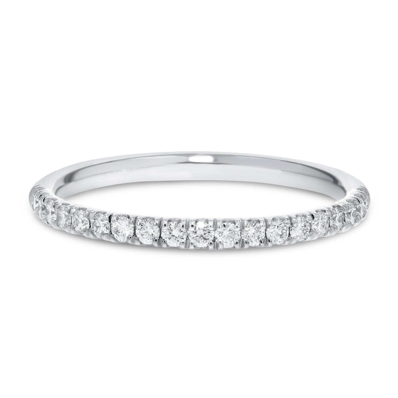 IGI Certified 18K White Gold Comfort Fit Diamond Eternity Band, 1.8mm (0.50 cttw, F-G Color, VS1-VS2)