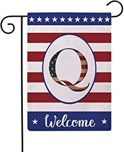 Patriotic Decorative Flag Initial Letter Garden Flags with Monogram Q Double Sided American Independence Day Flag Welcome Burlap Garden Flags 12.5×18 Inch for House Yard Patio Outdoor Decor(Q)