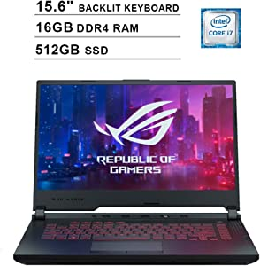 2020 Asus ROG G531GT 15.6 Inch FHD Gaming Laptop (9th Gen Intel 6-Core i7-9750H up to 4.50 GHz, 16GB DDR4 RAM, 512GB SSD, GeForce GTX 1650, RGB Backlit Keyboard, Windows 10) (Black)