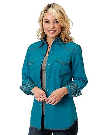 04746ea6 Amazon.com: Roper Women's Blue Long Sleeve Western Style Snap Shirt ...