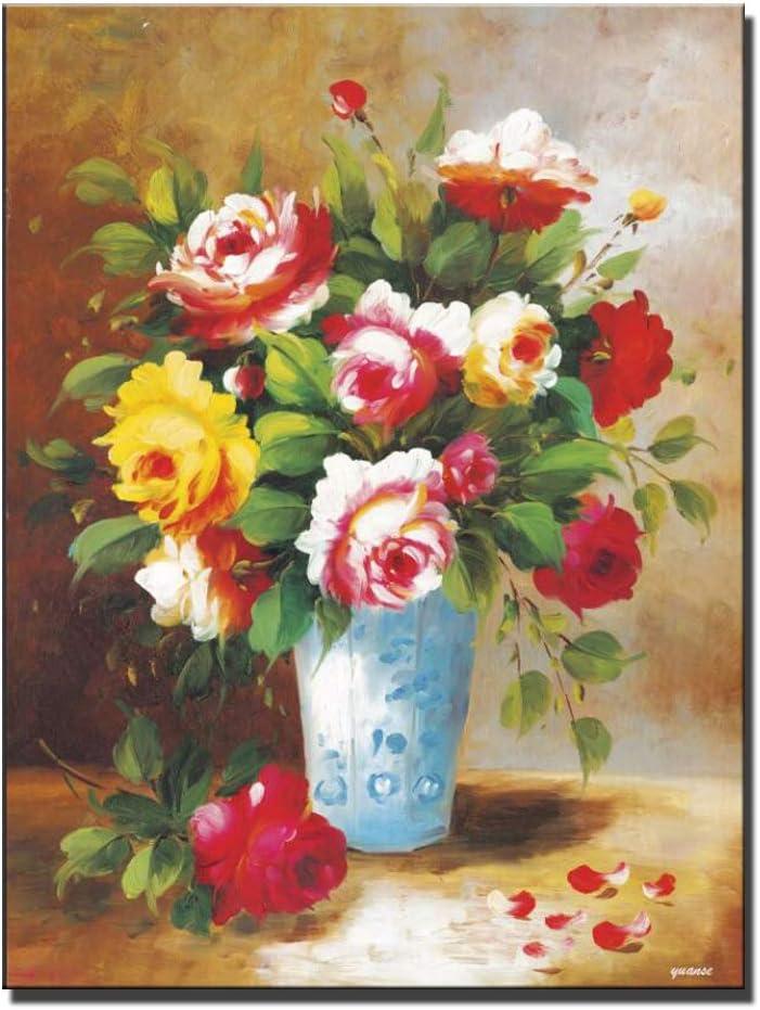 SADHAF Pintura al óleo sobre florero clásico sobre flor abstracta sobre lienzo Cartel de pared y sala de estar Imprimir arte A6 70x100cm