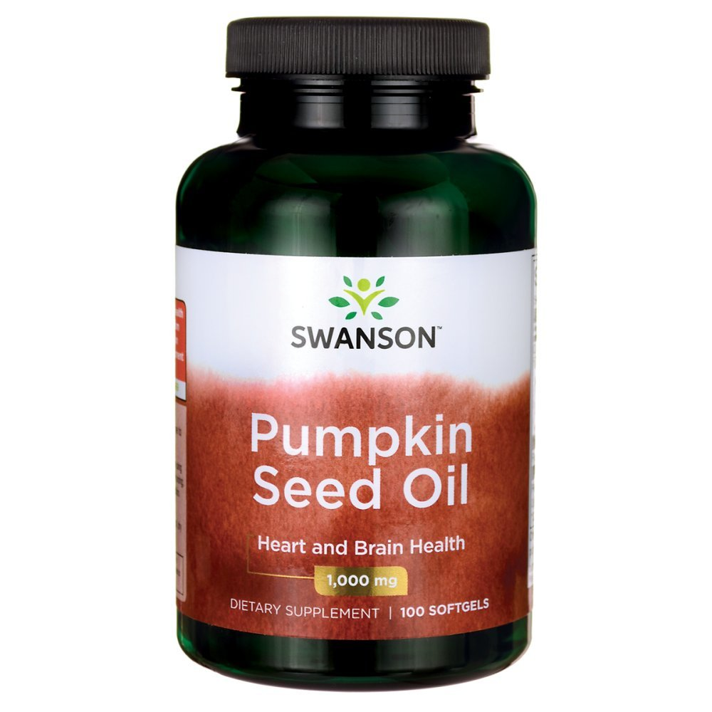 Swanson Pumpkin Seed Oil Brain Health, Cardiovascular Support, High Bioavailable Essential Fatty Acids (EFAs) Combination Herbal Supplement 1,000 mg 100 Softgel Capsules