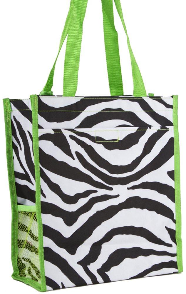 Green Zebra Print Tote Bag