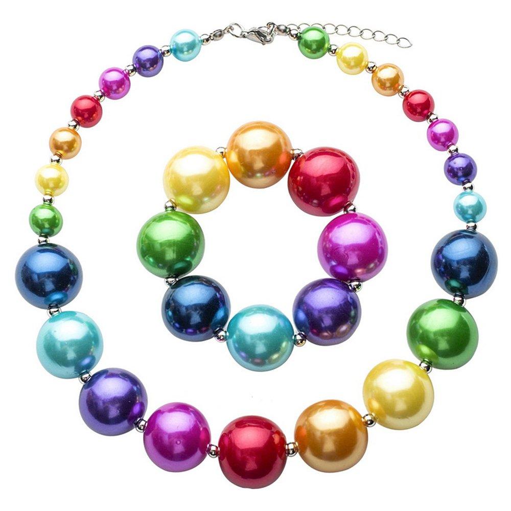 MJARTORIA Children Girls Candy Colors Flowers Shap Set Necklace Bracelet XIEHOU XHA0AG1Q1AX