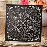 Wishmade 1 Piece Square Laser Cut Wedding Invitations Kit With Cards for Birthday Bridal Shower Marriage Engagement Floral with Envelopes Seals