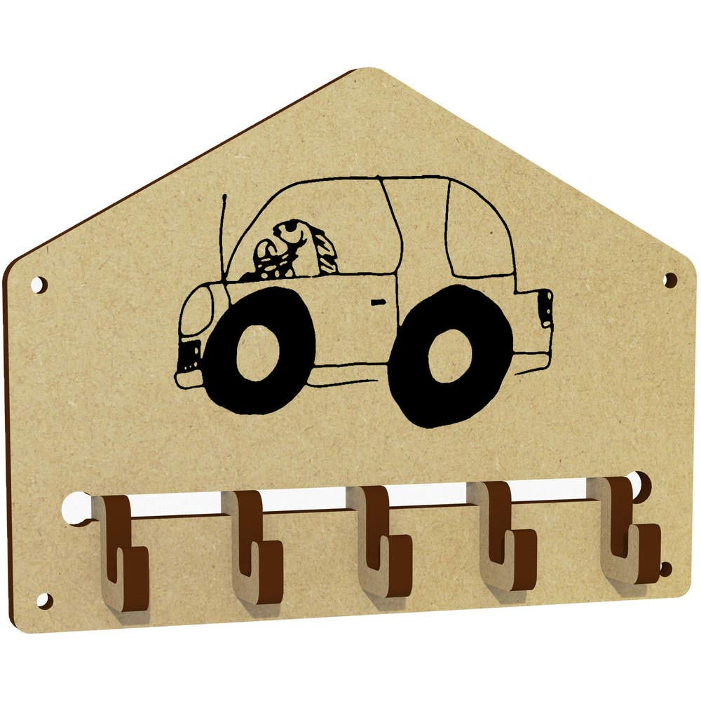 Azeeda 'Fish Driving Car' Wall Mounted Key Hooks / Holder (WH00036579)