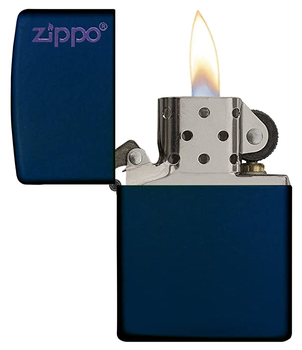 Zippo Logo Pocket Lighter, Navy Matte