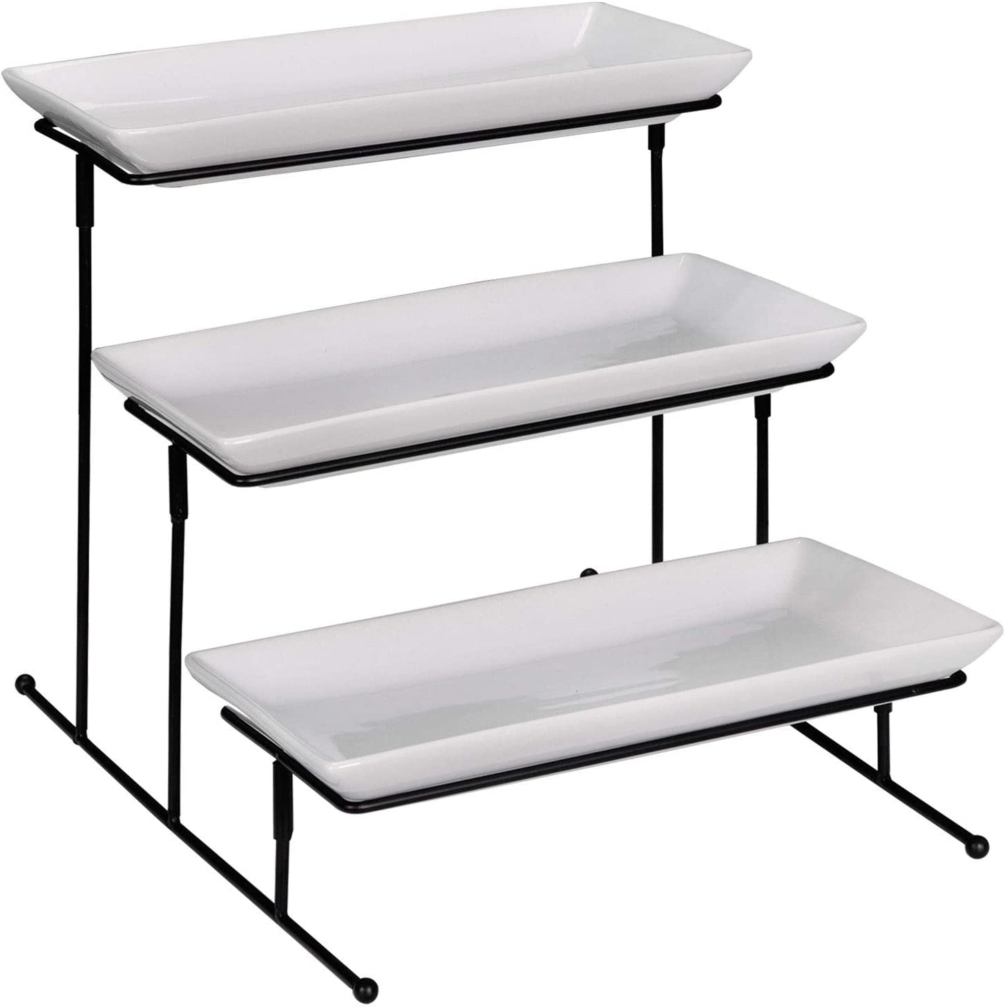 USED Home Plate Rack Server Stand 3 Tiers Stable Swiveling Iron Construction