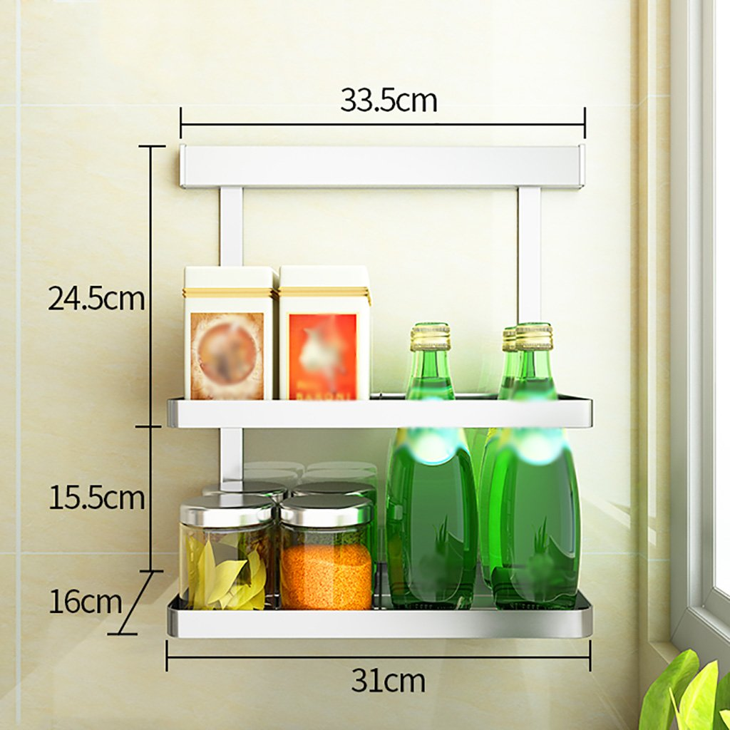 D RFJJAL No Drilling 304 Stainless Steel Kitchen Racks Wall Hanging Storage Organize Shelf (Size   F)