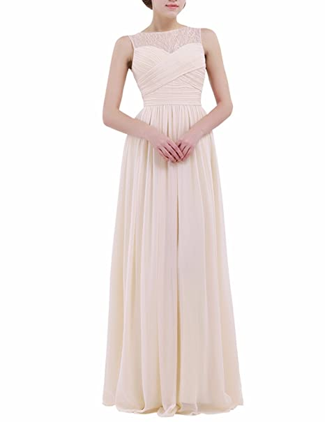 Feeshow Womens Lace Patchwork Chiffon Bridesmaid Dress Formal Prom Long Evening Gowns