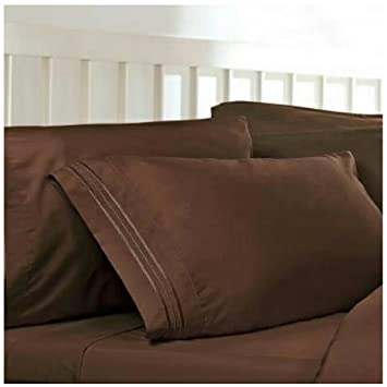 Twin XL Extra Long Sheets: Chocolate Brown, 1800 Thread Count Egyptian Bed  Sheets,