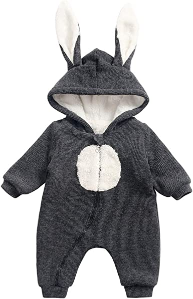 KONFA Toddler Baby Boys Girls Winter Warm Clothes,Cartoon Bear Soft Cotton Rompers Jumpsuit 0-24 Months Kids