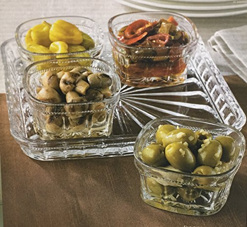 Beautiful Appetizer Relish Serving Tray with 4 Glass Condiment Bowls, Can Hold Snack, Dried Fruits, Dips, Nuts, Candies, and More. (Dip Relish)