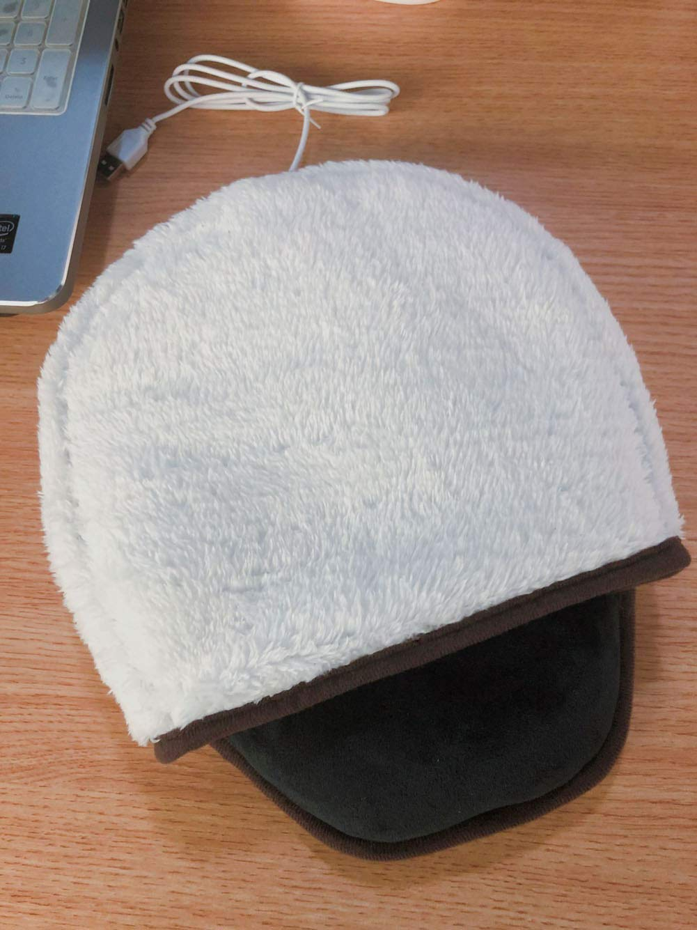 Black Temptation USB Heated Mouse Pad Mouse Hand Warmer with Wristguard Warm Winter White