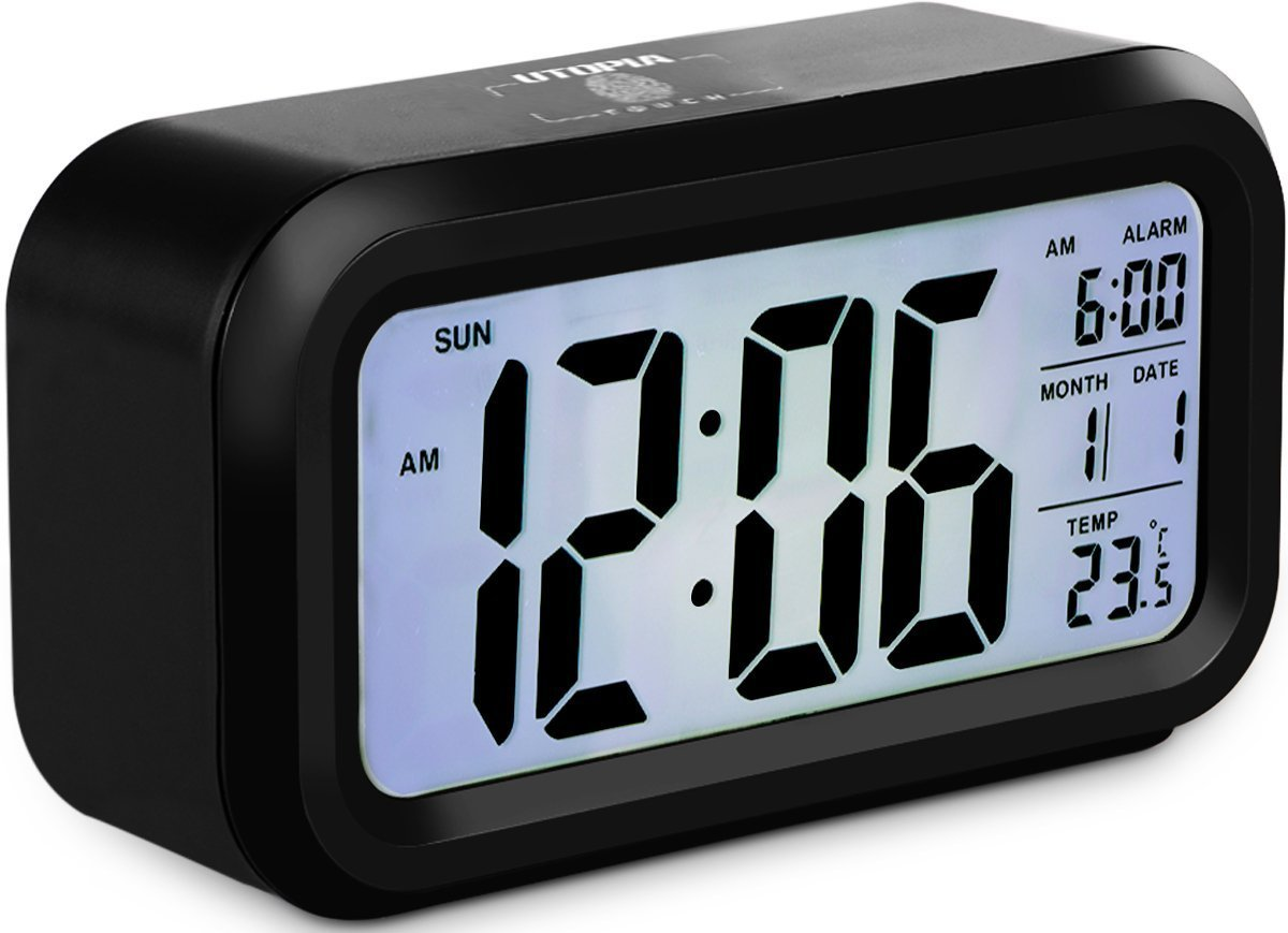 Amazon.com: Utopia Home Smart Backlight Alarm Clock with Touch Light and Snooze Sensor - LCD Display - Multi-function and Portable Size 5.3-Inch: Health ...