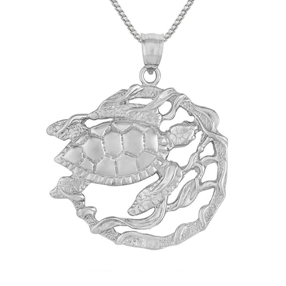 Made in USA Sterling Silver Turtle Pendant 18 Italian Box Chain