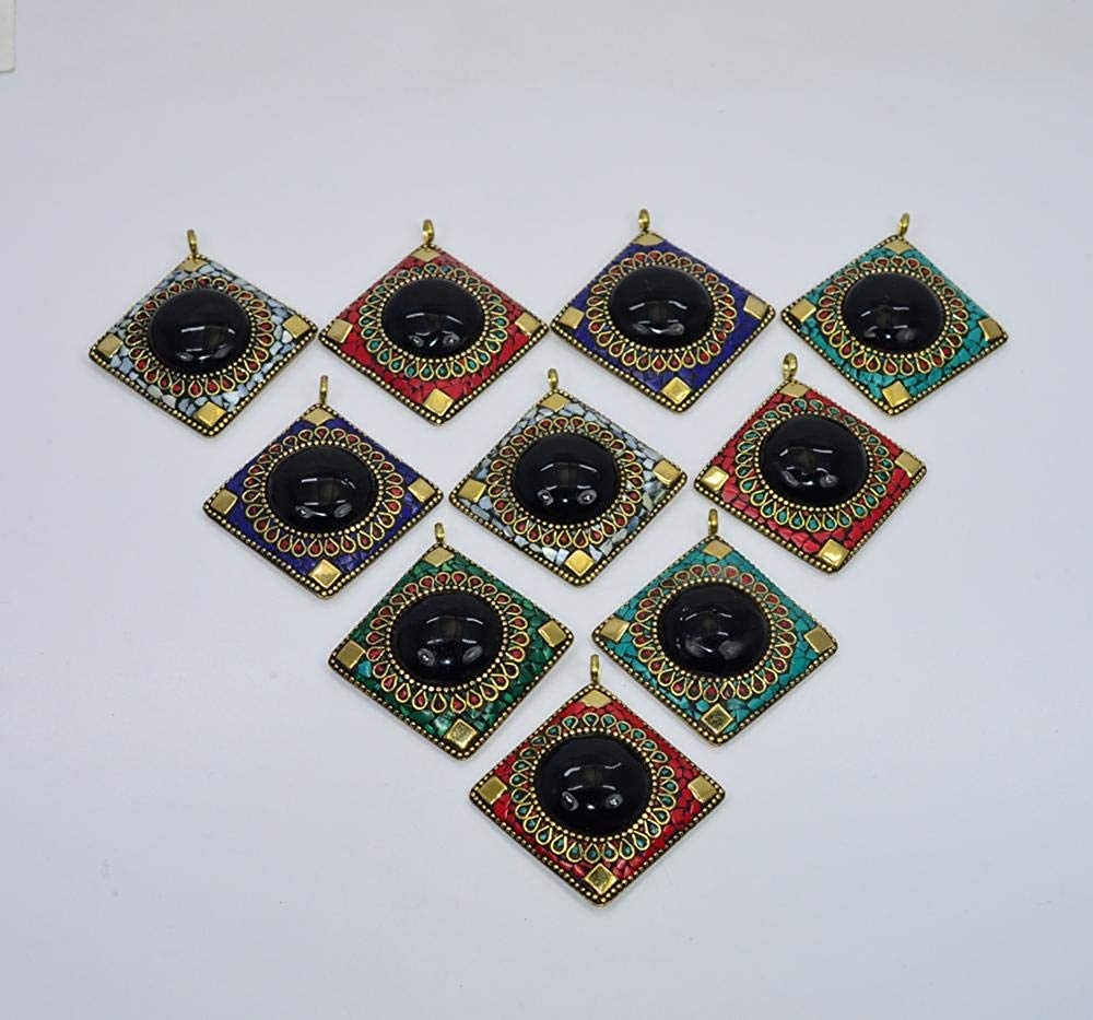 VICTORIANJEWELS Wholesale 10PC 925 Tibetan Brass Turquoise Black Onyx Mix Stone Pendant LOT