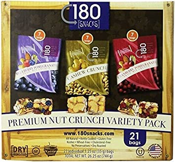 180 Snacks Nut Crunch Variety Pack, 21 individual bags (7 Blueberry  Pomegranate, 7
