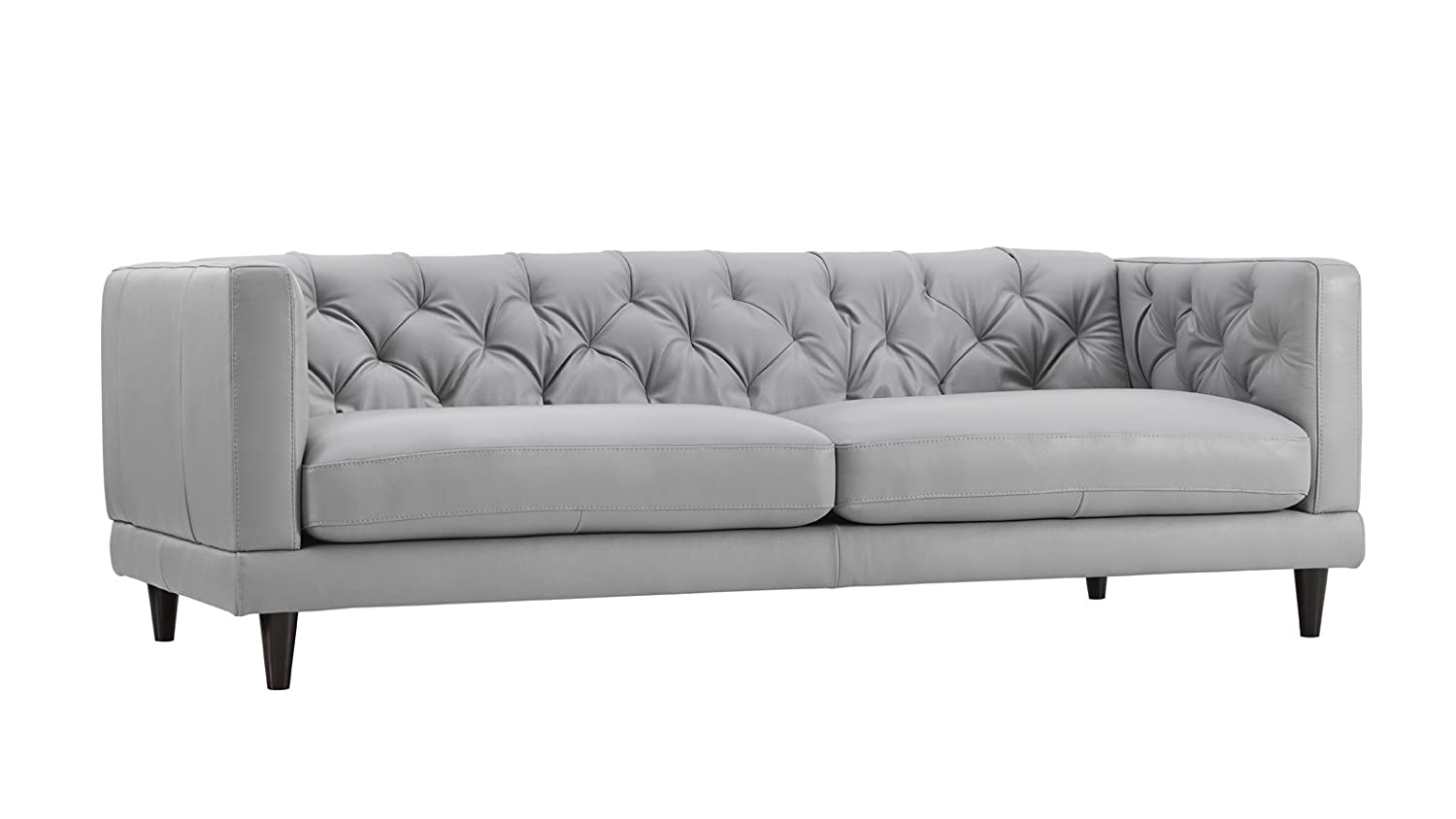 Zeno Light Grey Leather Stationary Sofa  sc 1 st  eBay : natuzzi white leather sectional - Sectionals, Sofas & Couches
