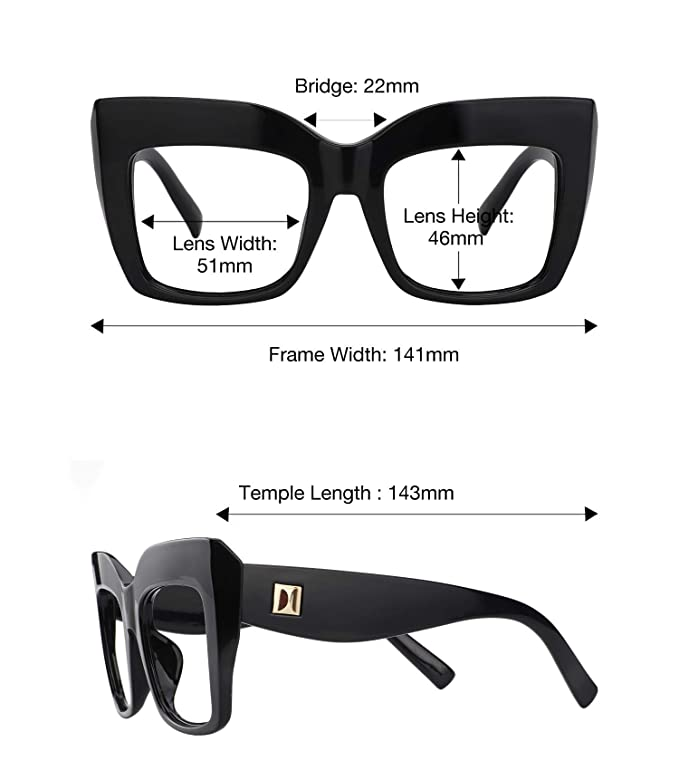 ede6f4d4220 Amazon.com  Zeelool Vintage Oversized Thick Cat Eye Glasses for Women with Clear  Lens Alberta FP0668-01 Black  Clothing