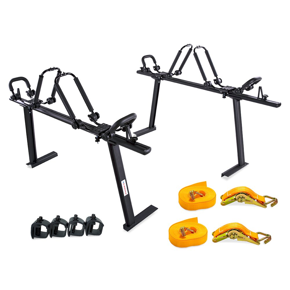 AA Products Model APX25 Aluminum Truck Rack (8) Non-Drilling C-Clamps (2sets) Steel Double Folding Kayak J-Racks w/Extended Bolts (2) Heavy Duty 1 Ton Ratcheting Strap