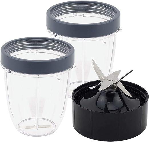 2 vasos cortos de 18 onzas con anillo de labios + hoja extractora ...